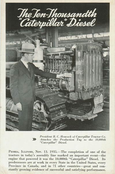 """Caterpillar Diesel Postcard """"The Ten-Thousandth Caterpillar Diesel"""""""